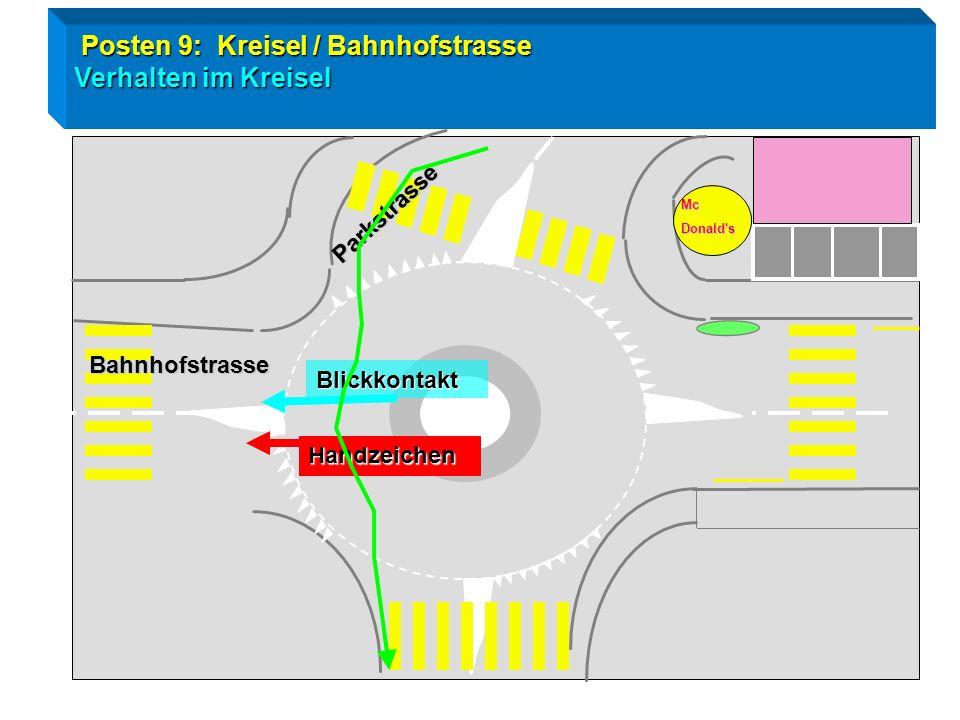 Posten 9: Kreisel / Bahnhofstrasse Verhalten im Kreisel