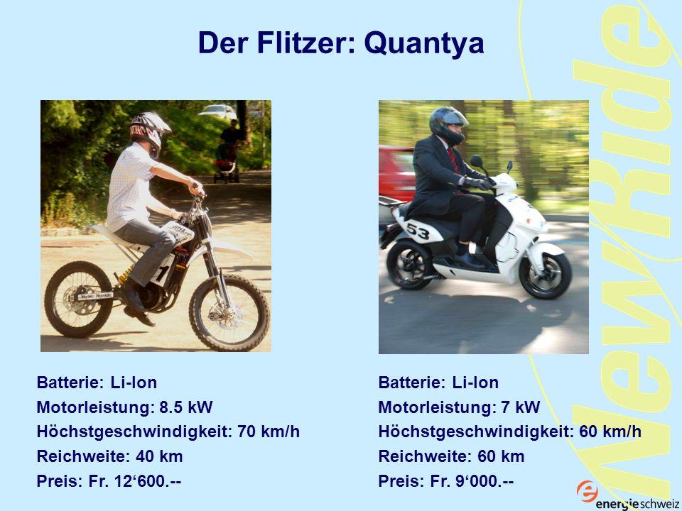 Der Flitzer: Quantya Batterie: Li-Ion Motorleistung: 8.5 kW