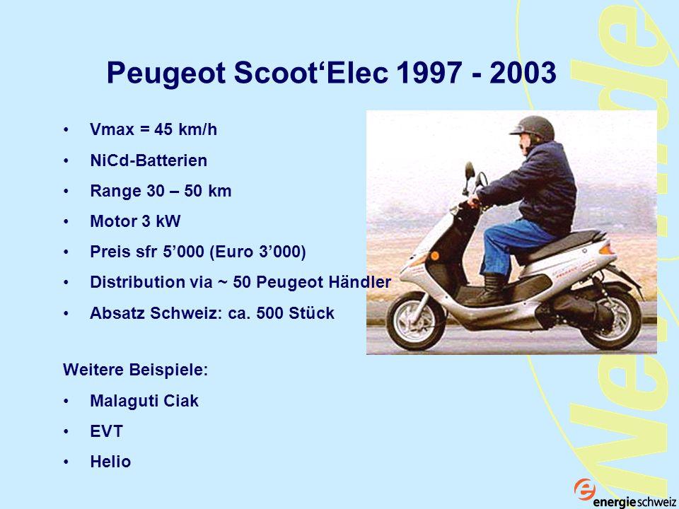 Peugeot Scoot'Elec 1997 - 2003 Vmax = 45 km/h NiCd-Batterien