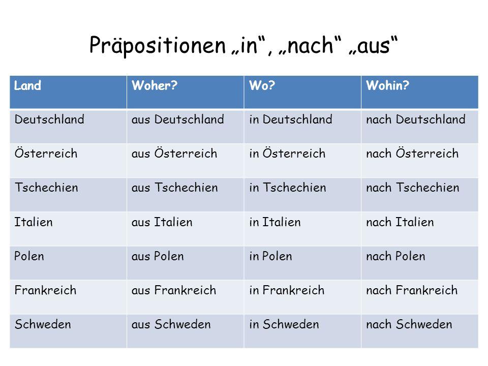 """Präpositionen """"in , """"nach """"aus"""