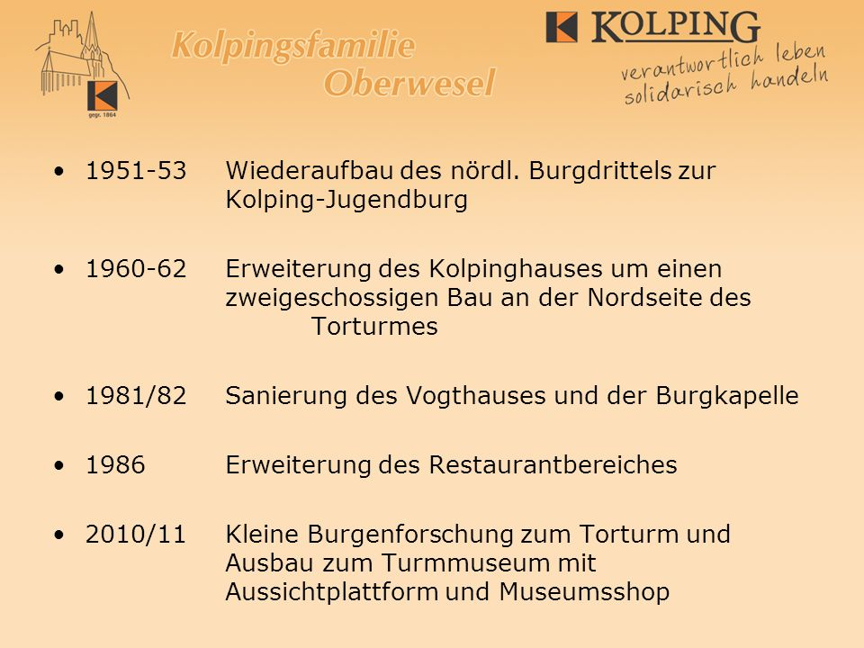 Kolping – Ausbau-Aktivitäten auf der Burg