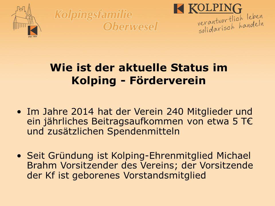 Wie ist der aktuelle Status im Kolping - Förderverein