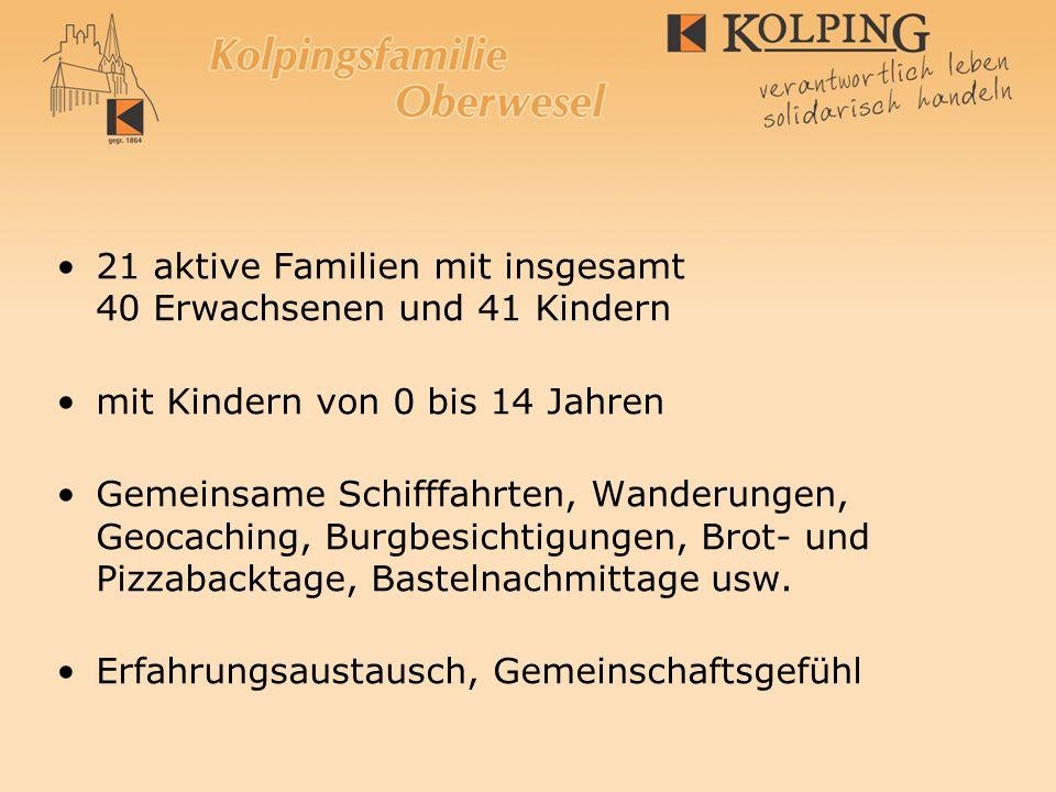 21 aktive Familien mit insgesamt 40 Erwachsenen und 41 Kindern