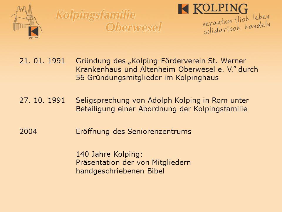 "21. 01. 1991. Gründung des ""Kolping-Förderverein St. Werner"