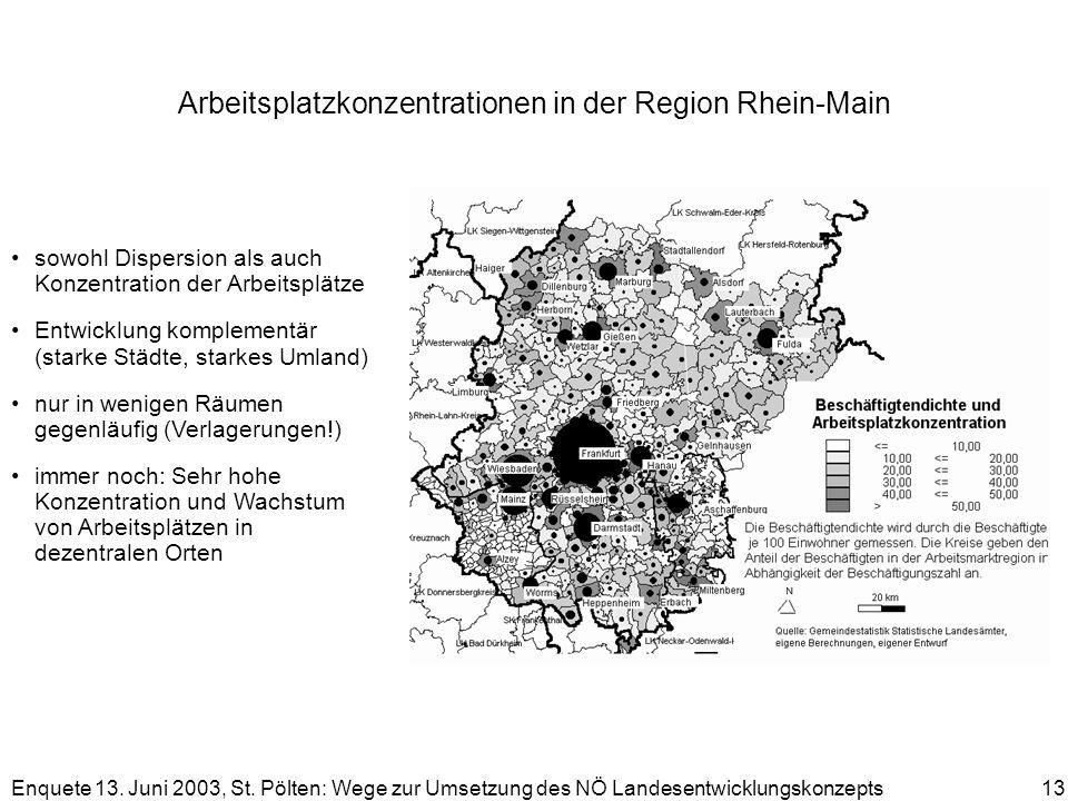 Arbeitsplatzkonzentrationen in der Region Rhein-Main