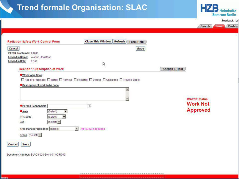 Trend formale Organisation: SLAC