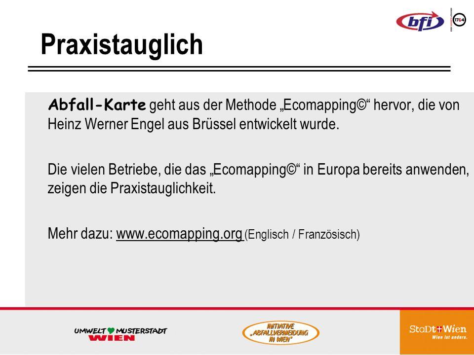 """Praxistauglich Abfall-Karte geht aus der Methode """"Ecomapping© hervor, die von Heinz Werner Engel aus Brüssel entwickelt wurde."""