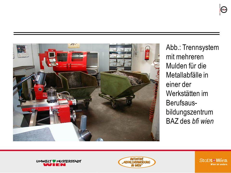 Abb.: Trennsystem mit mehreren Mulden für die Metallabfälle in einer der Werkstätten im Berufsaus-bildungszentrum BAZ des bfi wien
