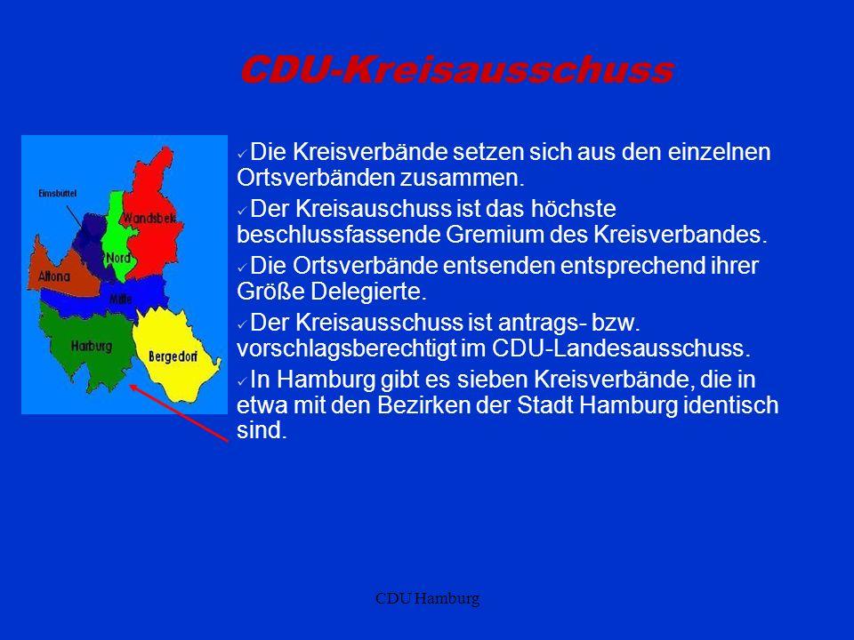 CDU-Kreisausschuss Die Kreisverbände setzen sich aus den einzelnen Ortsverbänden zusammen.