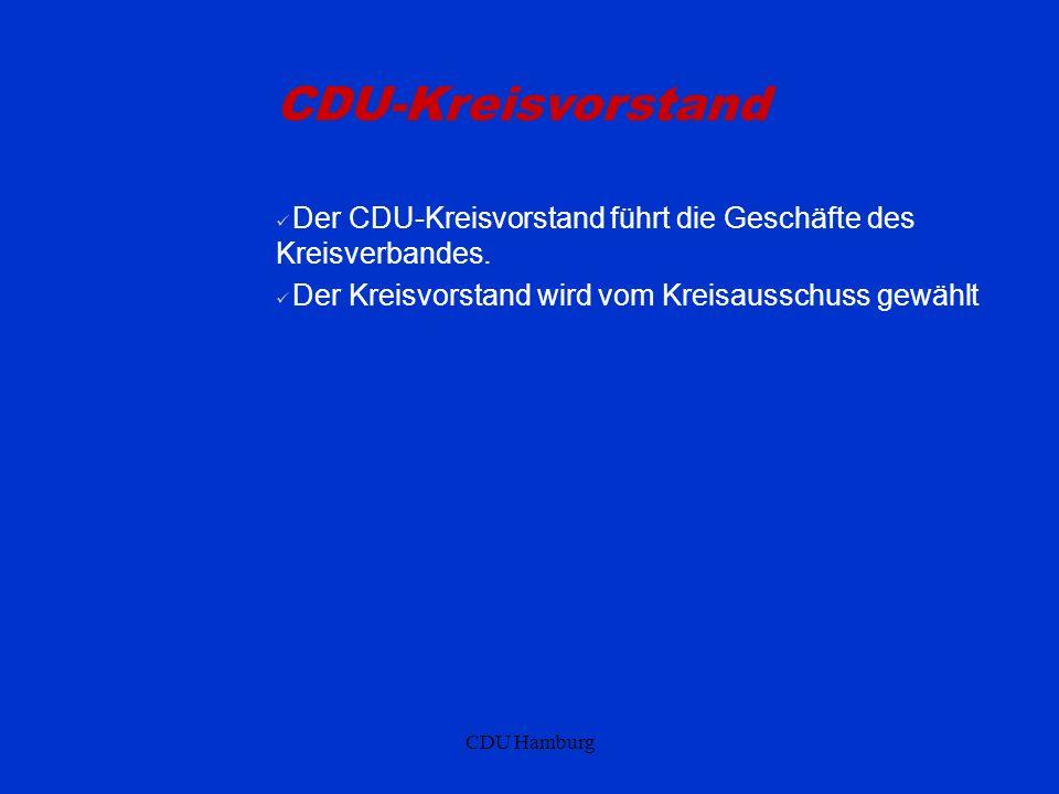 CDU-Kreisvorstand Der CDU-Kreisvorstand führt die Geschäfte des Kreisverbandes. Der Kreisvorstand wird vom Kreisausschuss gewählt.