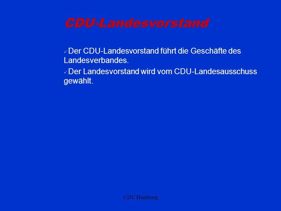 CDU-Landesvorstand Der CDU-Landesvorstand führt die Geschäfte des Landesverbandes. Der Landesvorstand wird vom CDU-Landesausschuss gewählt.