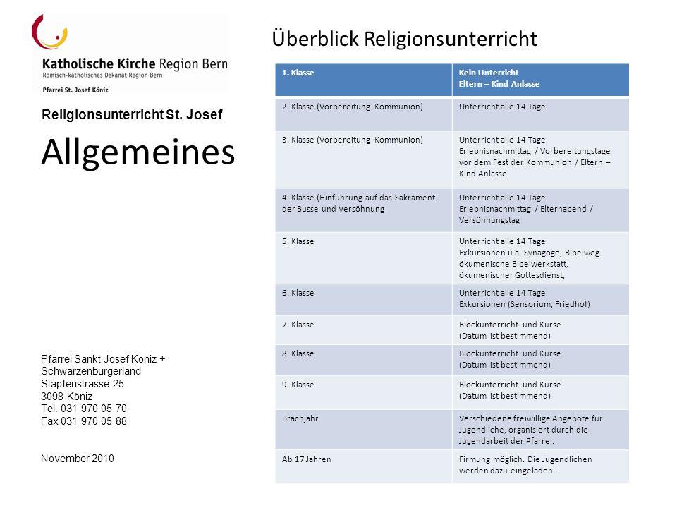 Allgemeines Überblick Religionsunterricht 1. Klasse Kein Unterricht