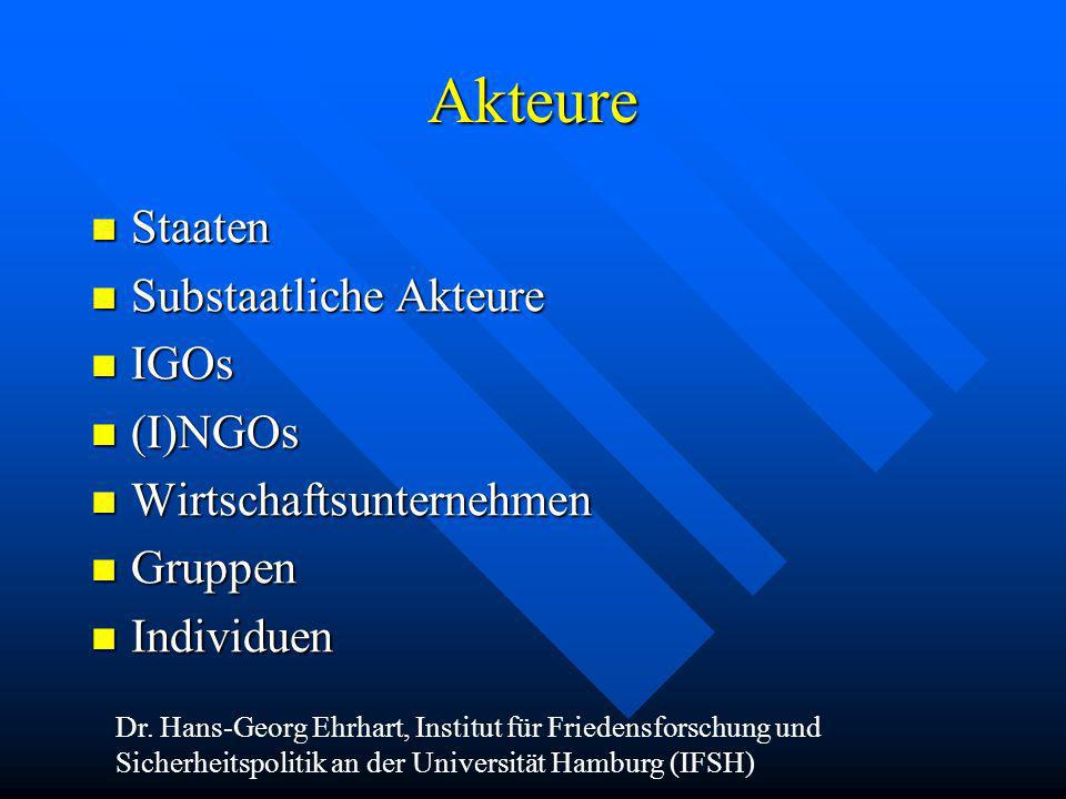 Akteure Staaten Substaatliche Akteure IGOs (I)NGOs