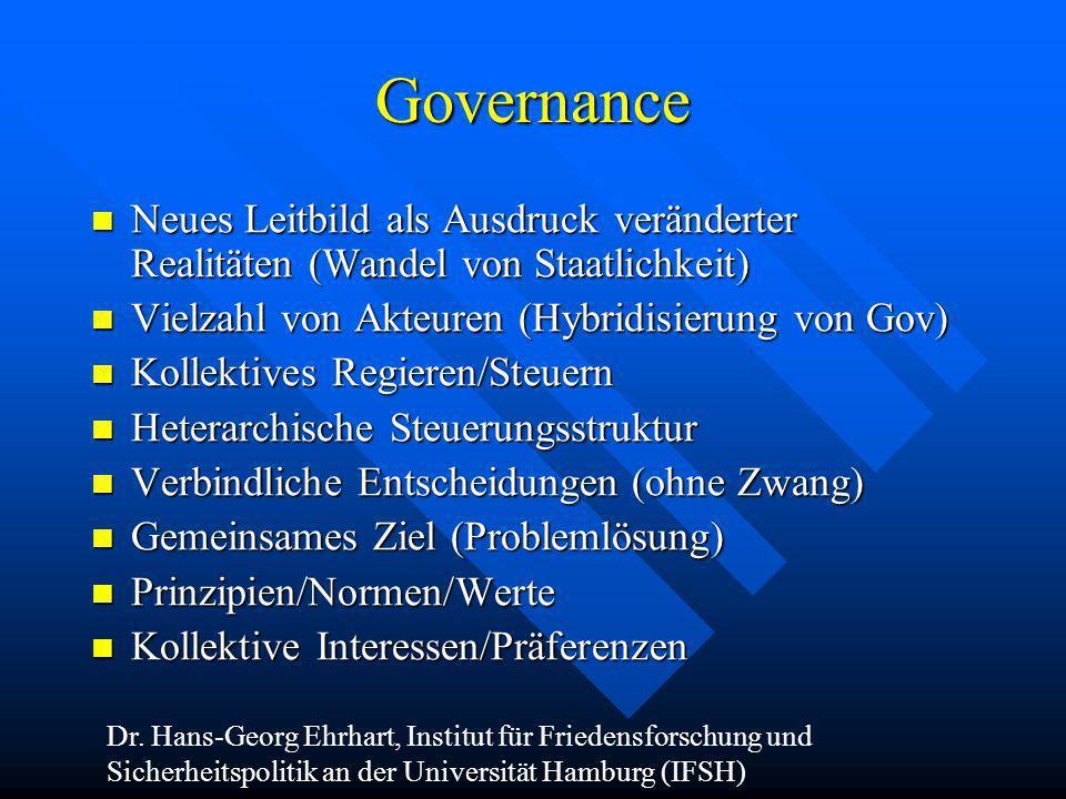 Governance Neues Leitbild als Ausdruck veränderter Realitäten (Wandel von Staatlichkeit) Vielzahl von Akteuren (Hybridisierung von Gov)