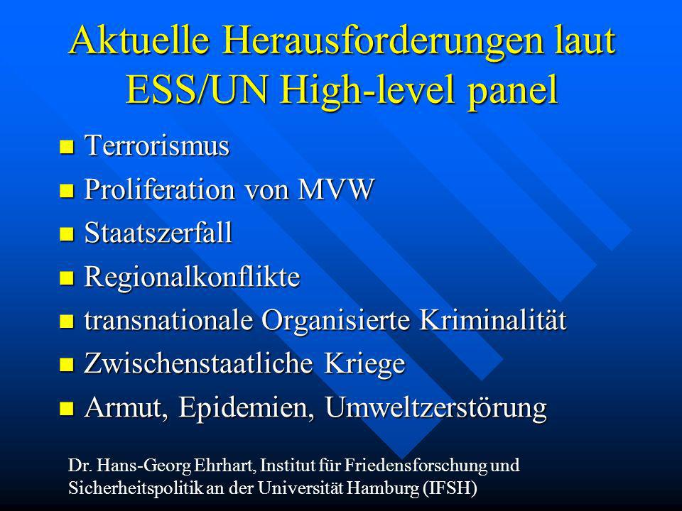 Aktuelle Herausforderungen laut ESS/UN High-level panel