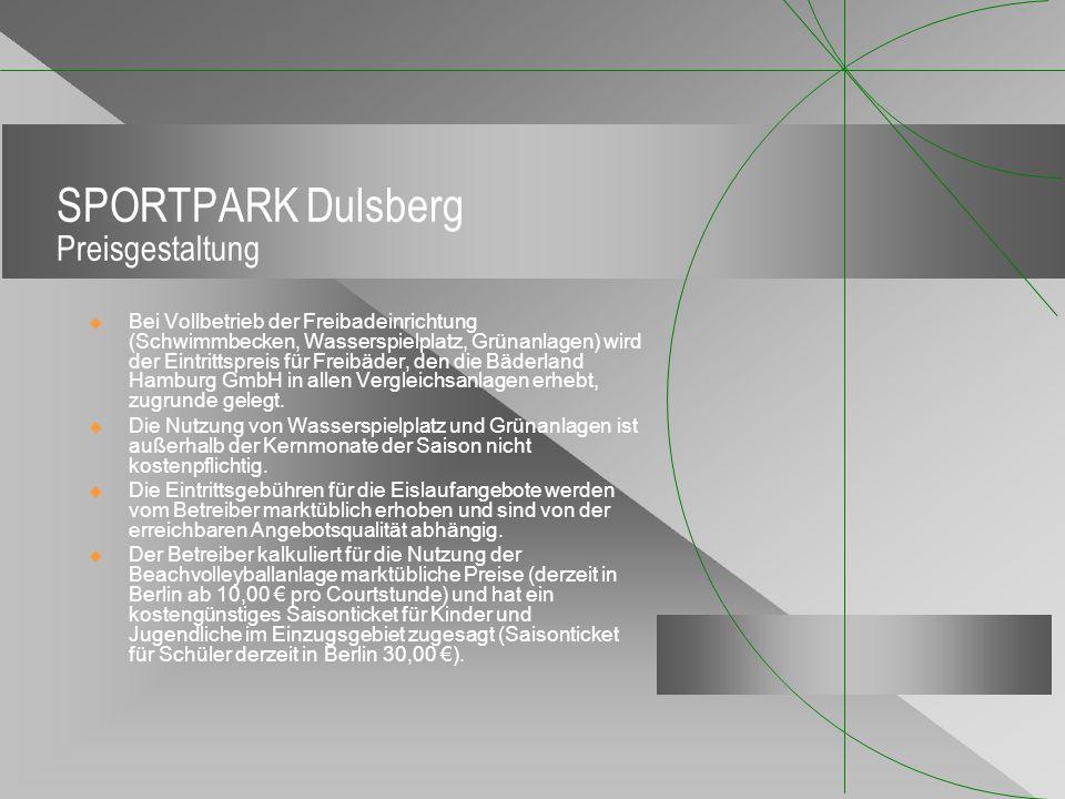 SPORTPARK Dulsberg Preisgestaltung