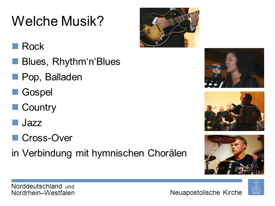 Welche Musik Rock Blues, Rhythm'n'Blues Pop, Balladen Gospel Country