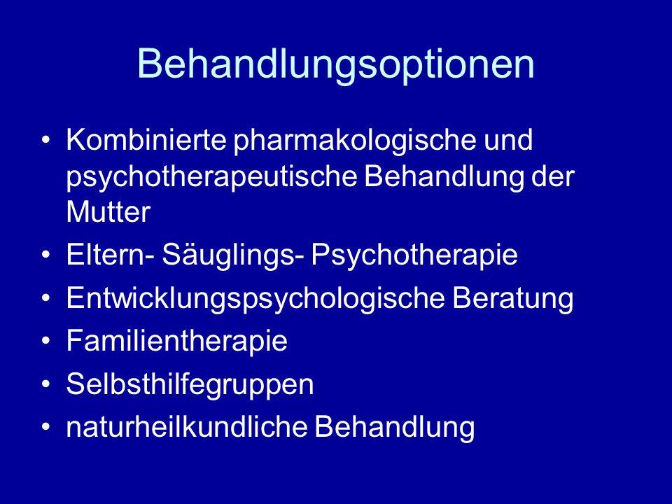 Behandlungsoptionen Kombinierte pharmakologische und psychotherapeutische Behandlung der Mutter. Eltern- Säuglings- Psychotherapie.