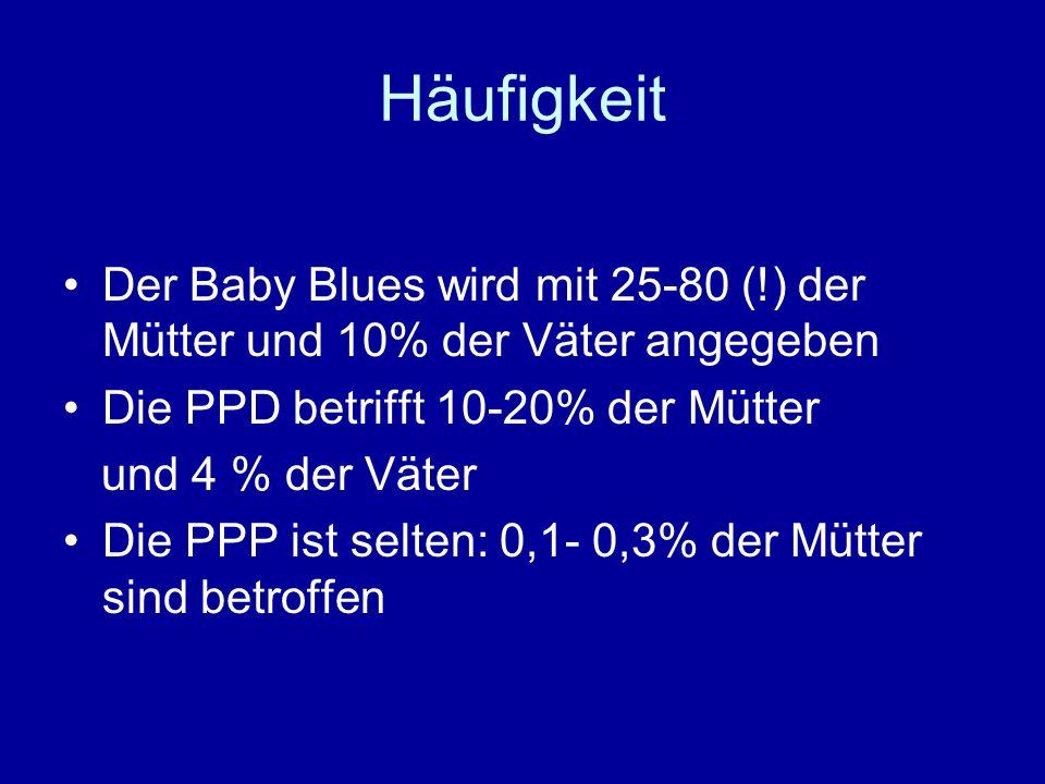 Häufigkeit Der Baby Blues wird mit 25-80 (!) der Mütter und 10% der Väter angegeben. Die PPD betrifft 10-20% der Mütter.