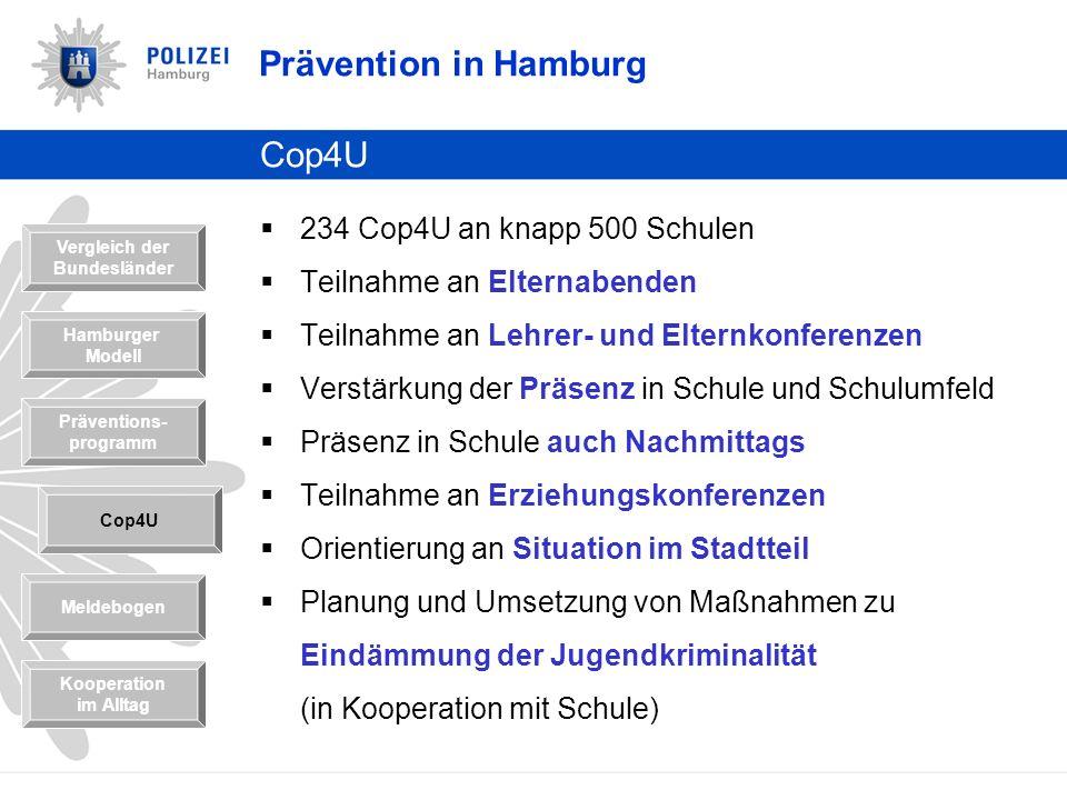 Prävention in Hamburg Cop4U 234 Cop4U an knapp 500 Schulen