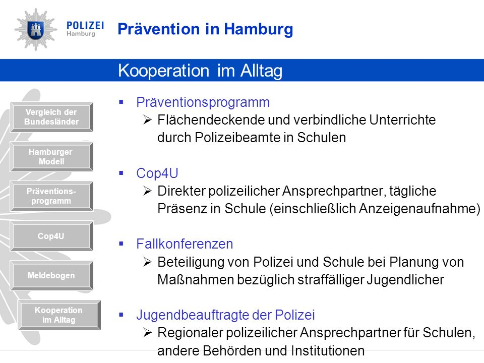 Kooperation im Alltag Prävention in Hamburg Präventionsprogramm