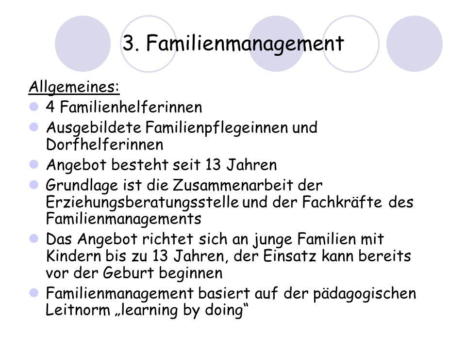 3. Familienmanagement Allgemeines: 4 Familienhelferinnen
