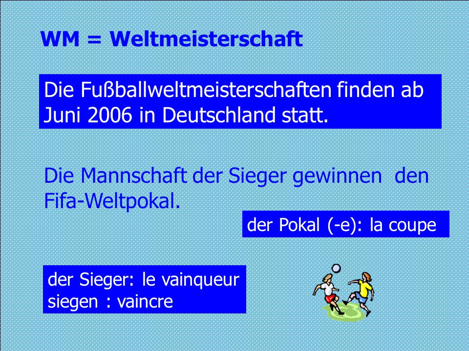WM = Weltmeisterschaft