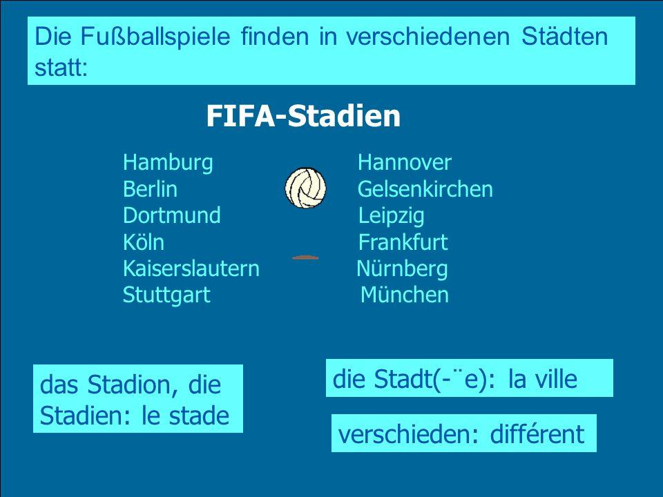 FIFA-Stadien Die Fußballspiele finden in verschiedenen Städten statt: