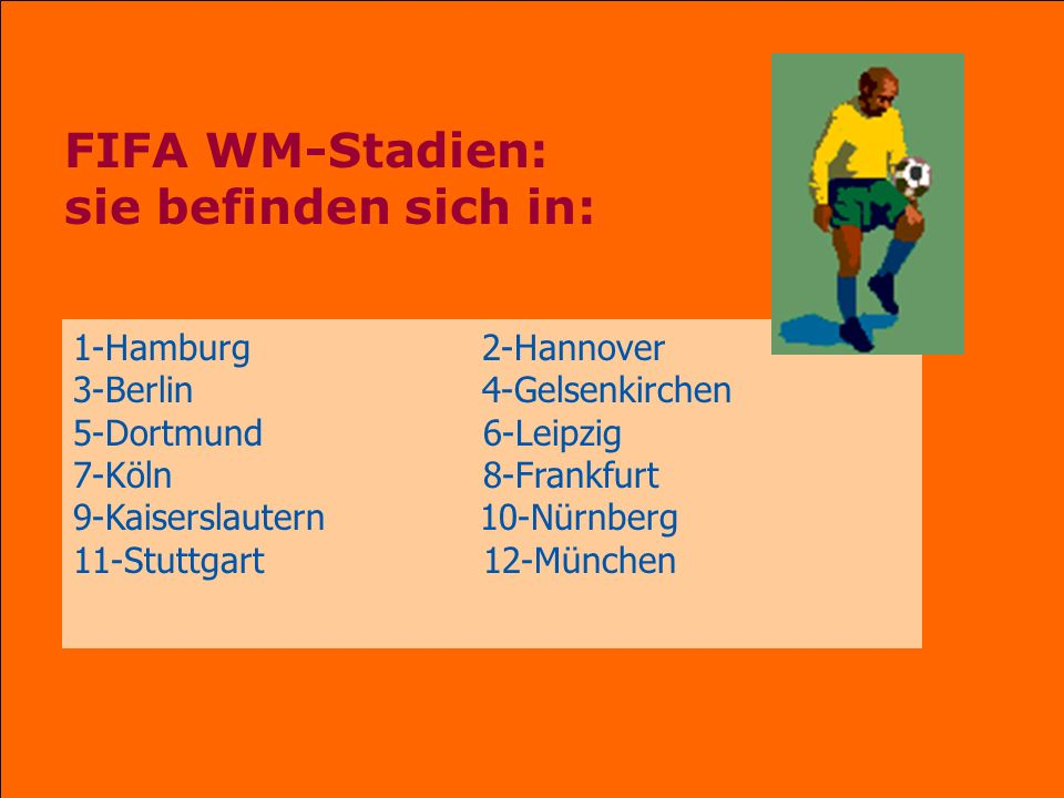 FIFA WM-Stadien: sie befinden sich in: