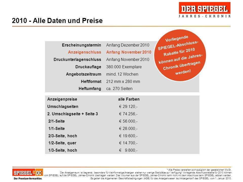 2010 - Alle Daten und Preise Vorliegende SPIEGEL-Abschluss-Rabatte für 2010 können auf die Jahres-Chronik übertragen werden!