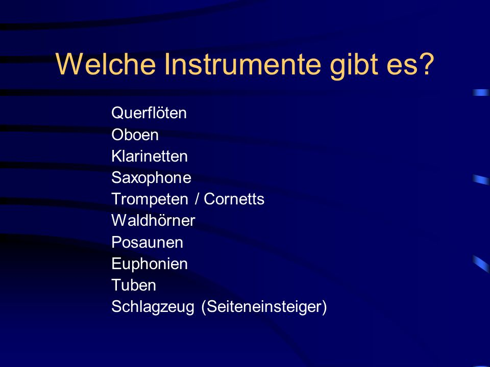 Welche Instrumente gibt es