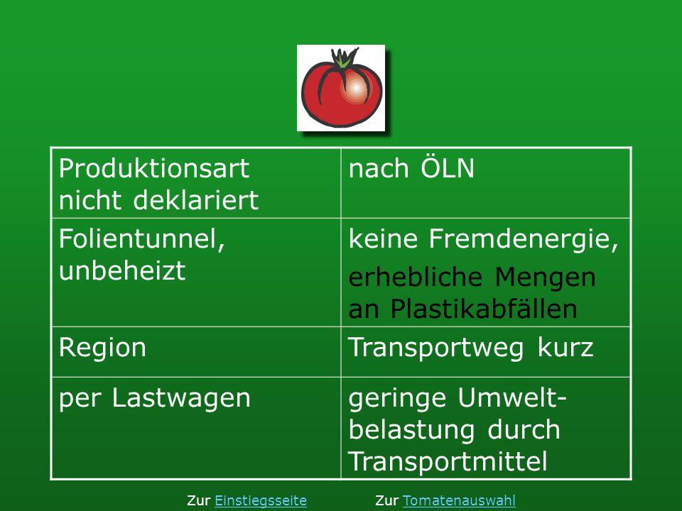 Produktionsart nicht deklariert nach ÖLN Folientunnel, unbeheizt