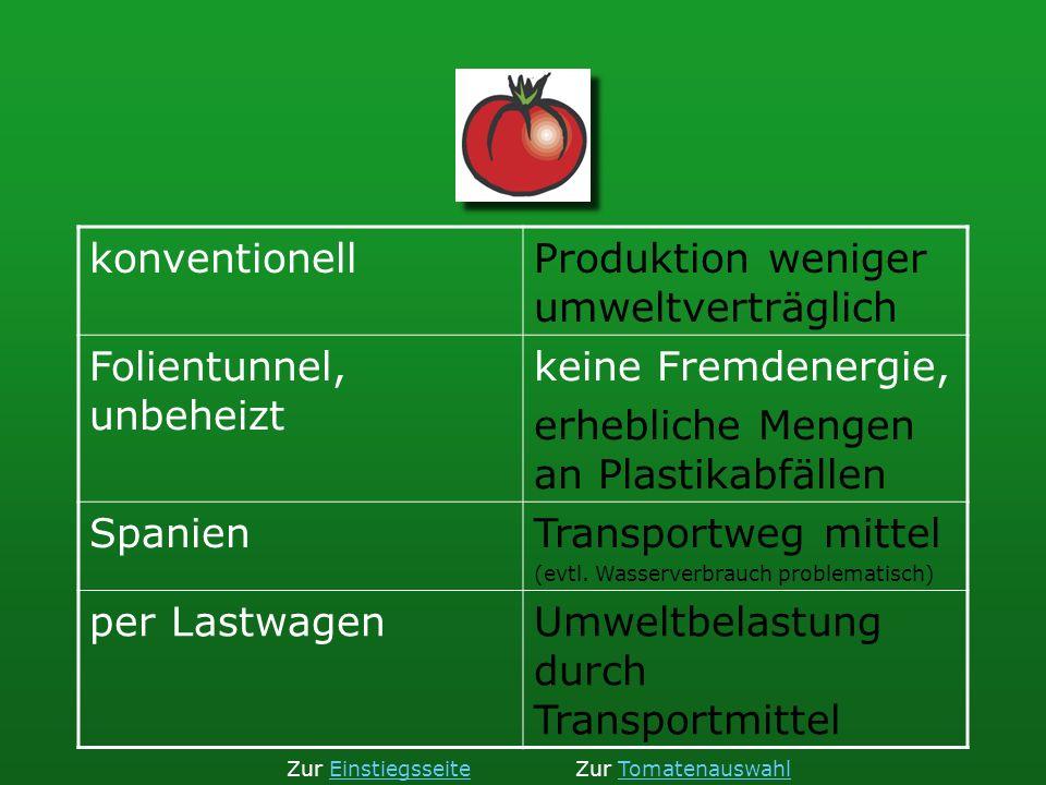 Produktion weniger umweltverträglich Folientunnel, unbeheizt