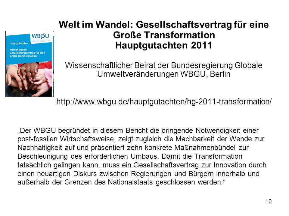 Welt im Wandel: Gesellschaftsvertrag für eine Große Transformation Hauptgutachten 2011 Wissenschaftlicher Beirat der Bundesregierung Globale Umweltveränderungen WBGU, Berlin http://www.wbgu.de/hauptgutachten/hg-2011-transformation/