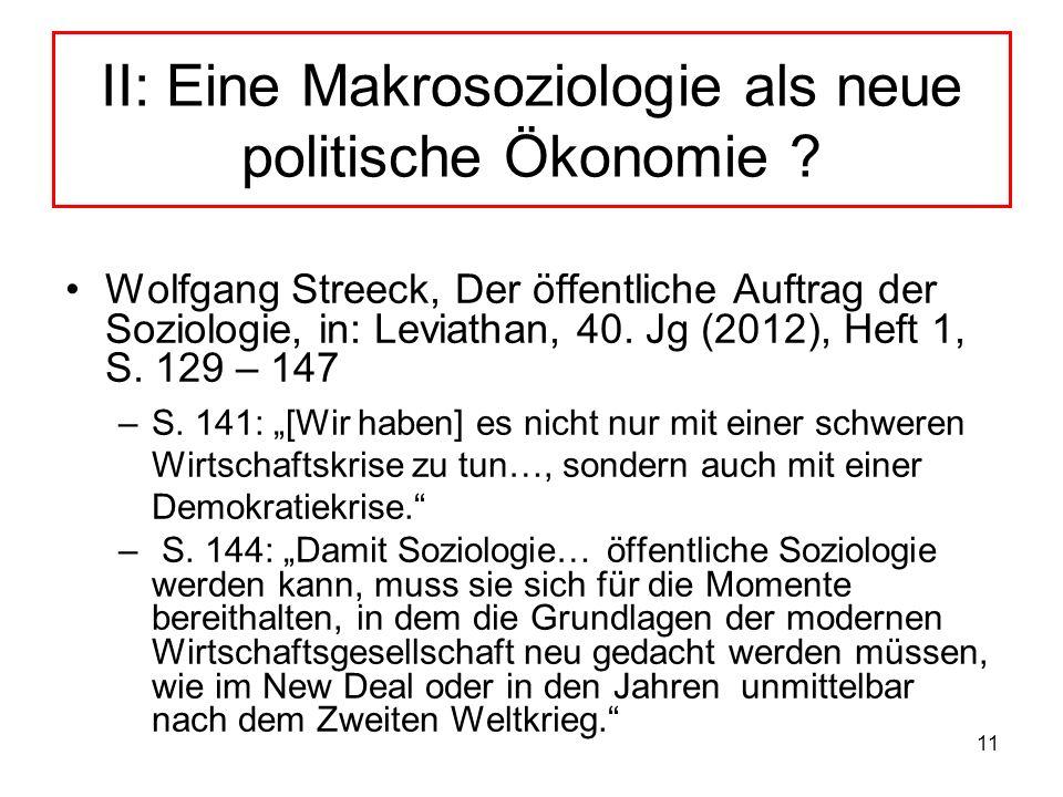 II: Eine Makrosoziologie als neue politische Ökonomie
