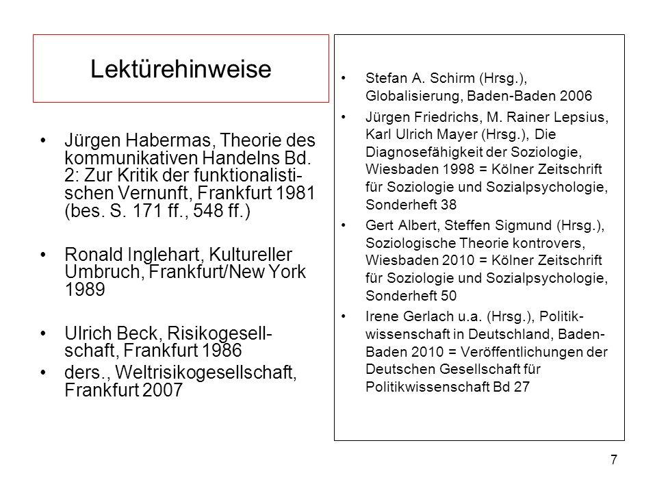 Lektürehinweise Stefan A. Schirm (Hrsg.), Globalisierung, Baden-Baden 2006.