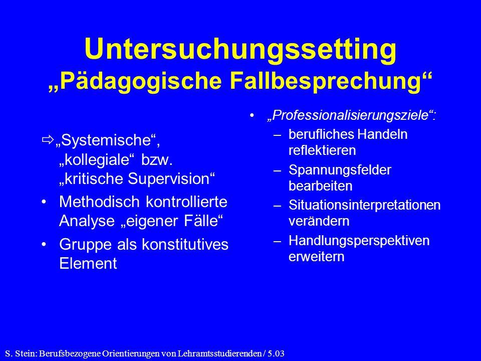 "Untersuchungssetting ""Pädagogische Fallbesprechung"
