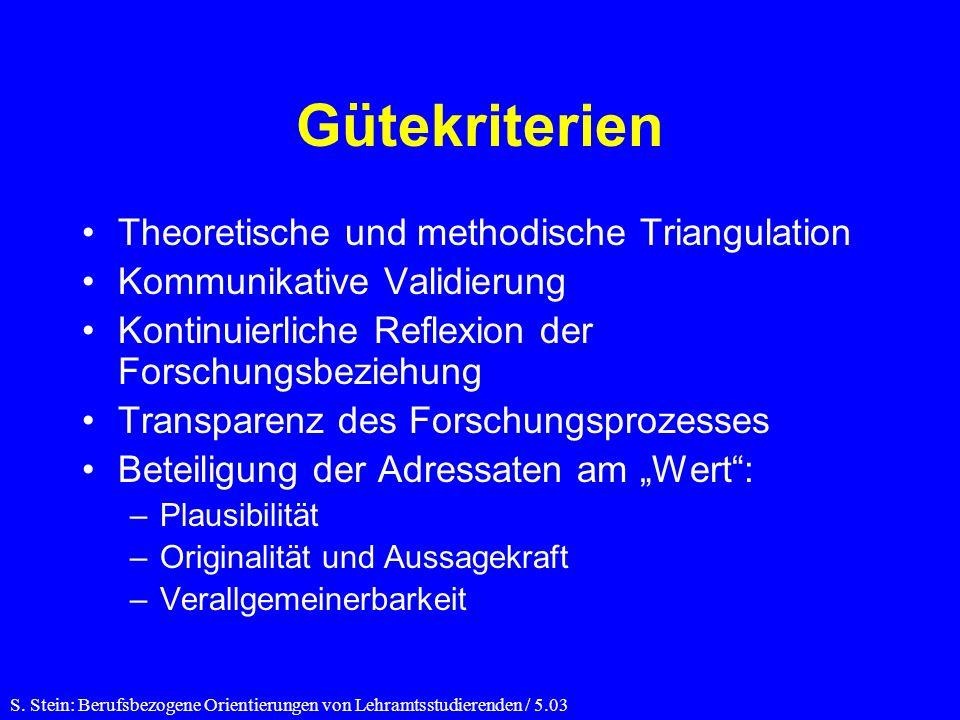 Gütekriterien Theoretische und methodische Triangulation