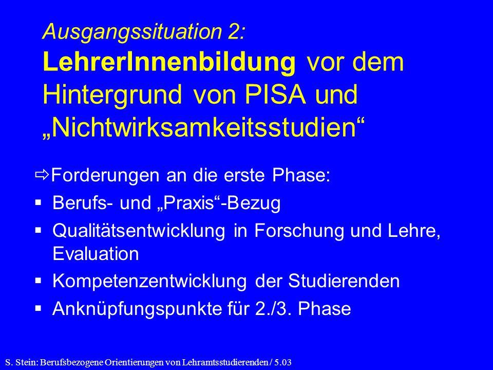 """Ausgangssituation 2: LehrerInnenbildung vor dem Hintergrund von PISA und """"Nichtwirksamkeitsstudien"""