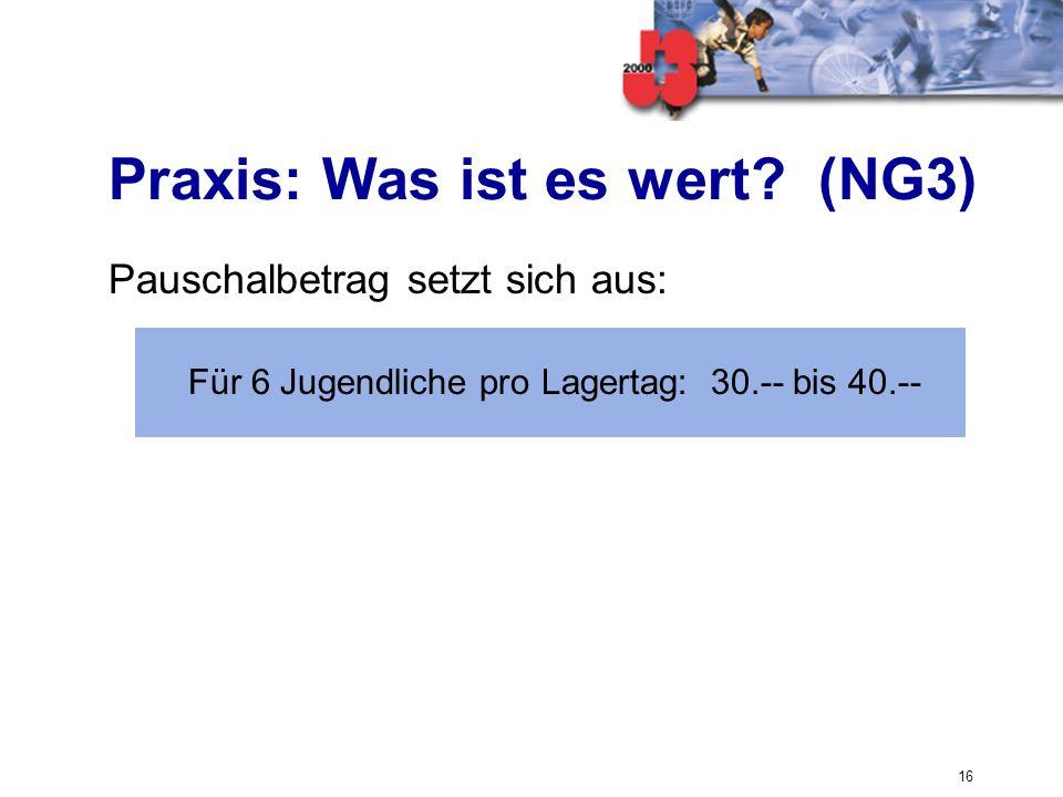 Praxis: Was ist es wert (NG3)