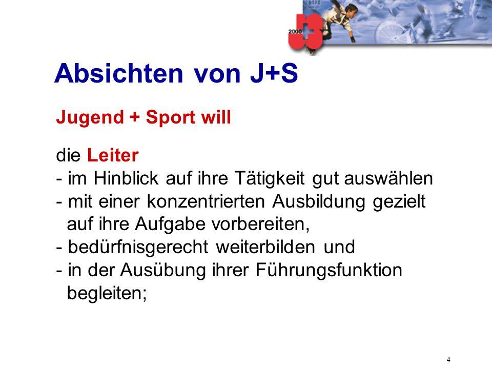 Absichten von J+S Jugend + Sport will die Leiter