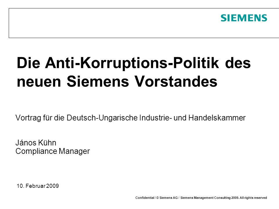 Die Anti-Korruptions-Politik des neuen Siemens Vorstandes