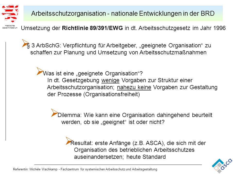 Arbeitsschutzorganisation - nationale Entwicklungen in der BRD