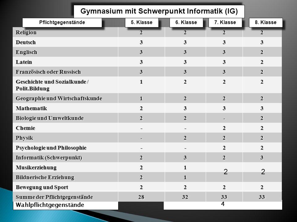 Gymnasium mit Schwerpunkt Informatik (IG)