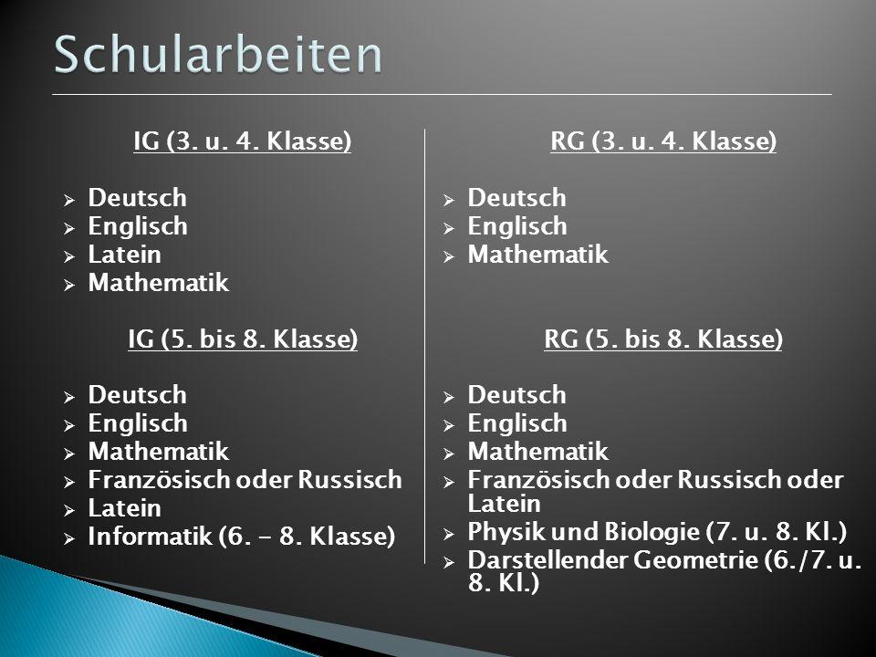Schularbeiten IG (3. u. 4. Klasse) Deutsch Englisch Latein Mathematik
