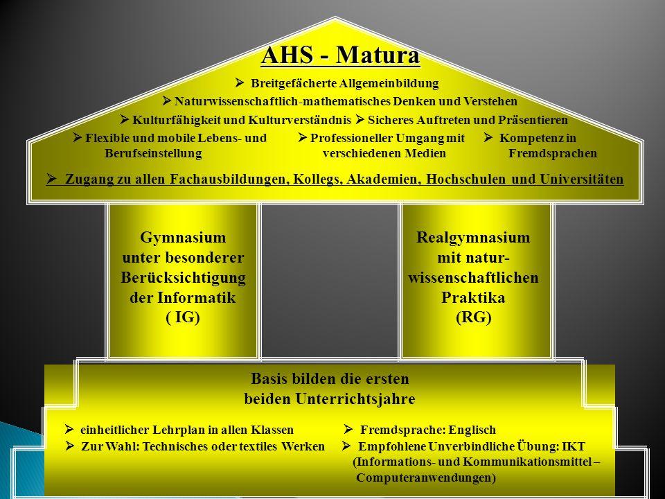 AHS - Matura  Breitgefächerte Allgemeinbildung.  Naturwissenschaftlich-mathematisches Denken und Verstehen.