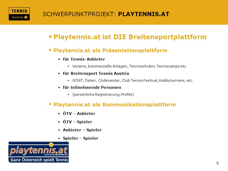 SCHWERPUNKTPROJEKT: PLAYTENNIS.AT
