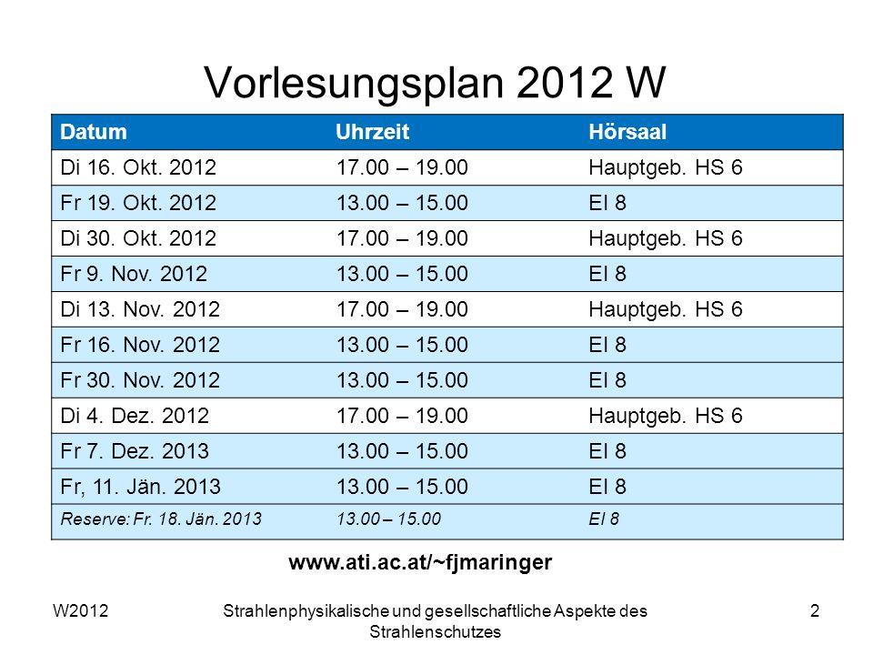 Vorlesungsplan 2012 W Datum Uhrzeit Hörsaal Di 16. Okt. 2012