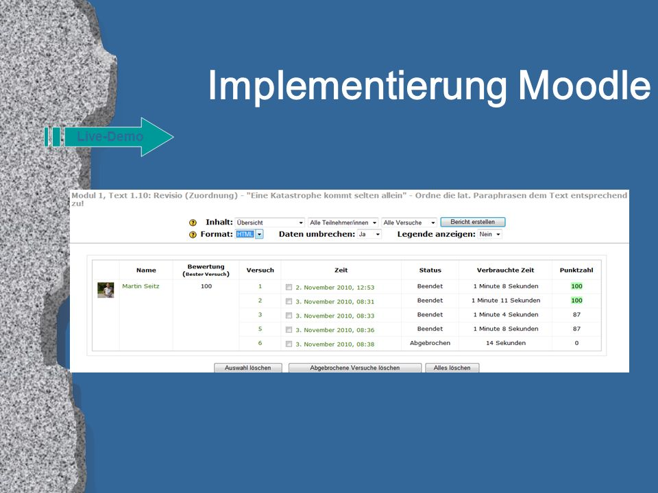 Implementierung Moodle