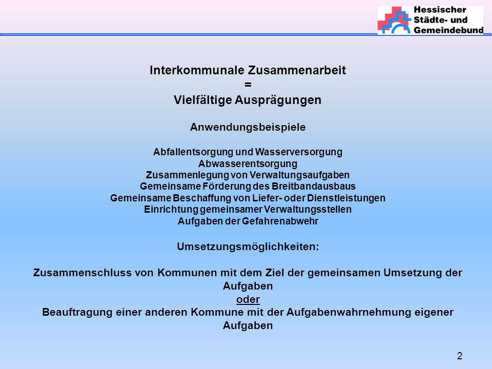 Interkommunale Zusammenarbeit = Vielfältige Ausprägungen